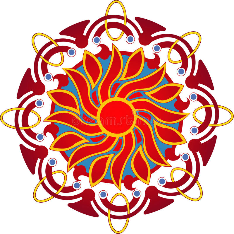 mandala słońce ilustracji