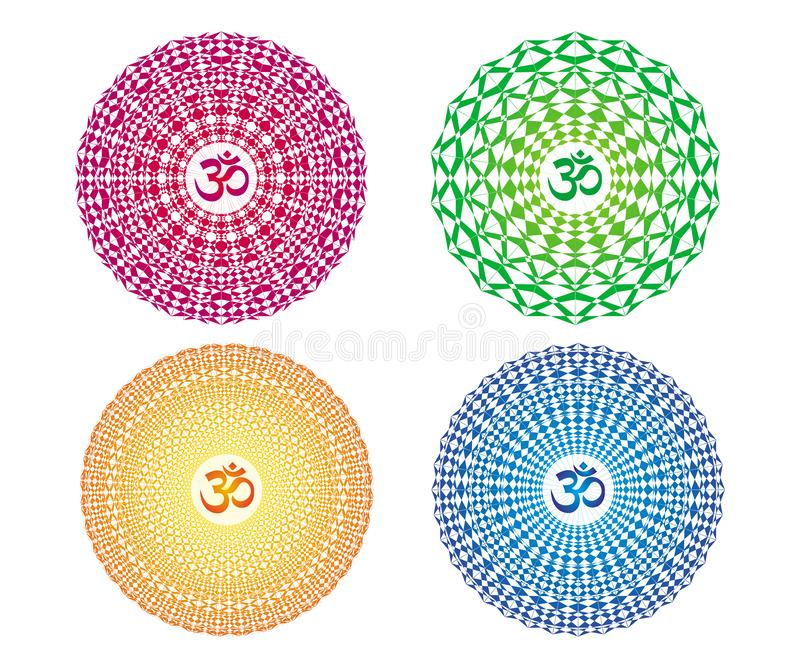 4 colorful mandalas with the sign Aum / Ohm / Om. Vector drawing. 4 colorful mandalas with the sign Aum / Ohm / Om. Spiritual symbol. Openwork circular ornament vector illustration