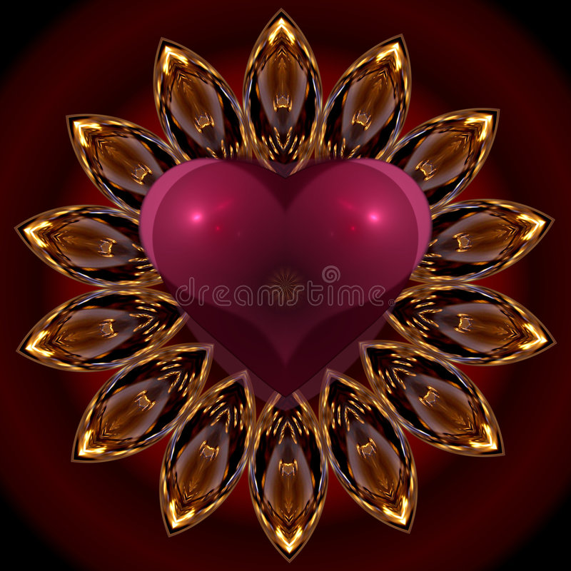 Mandala's heart. Colorful abstract graphic design showing a heart in passionate reds stock illustration