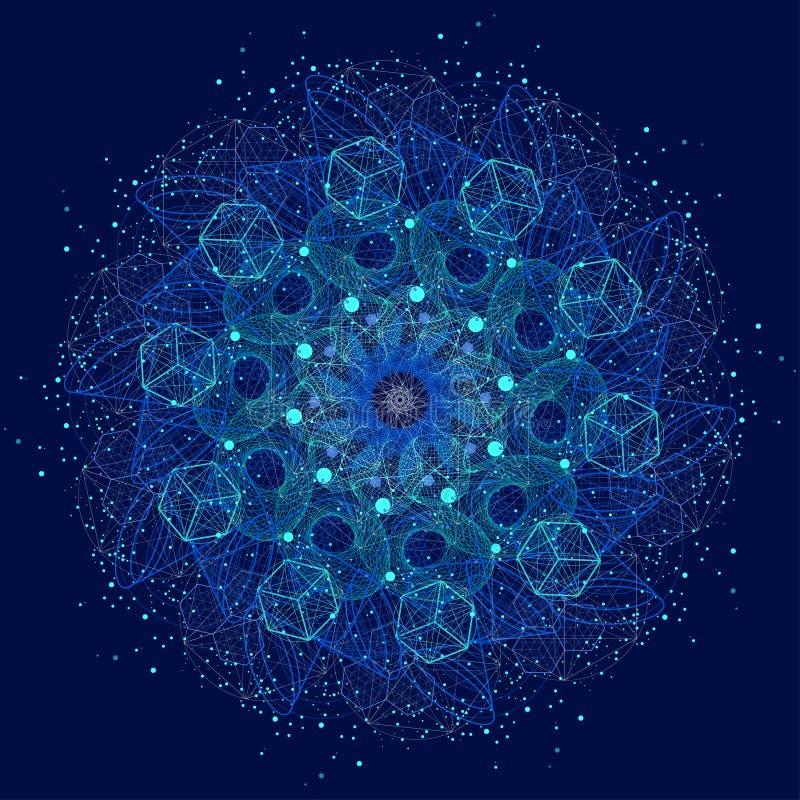 Mandala sagrado dos símbolos e dos elementos da geometria ilustração do vetor