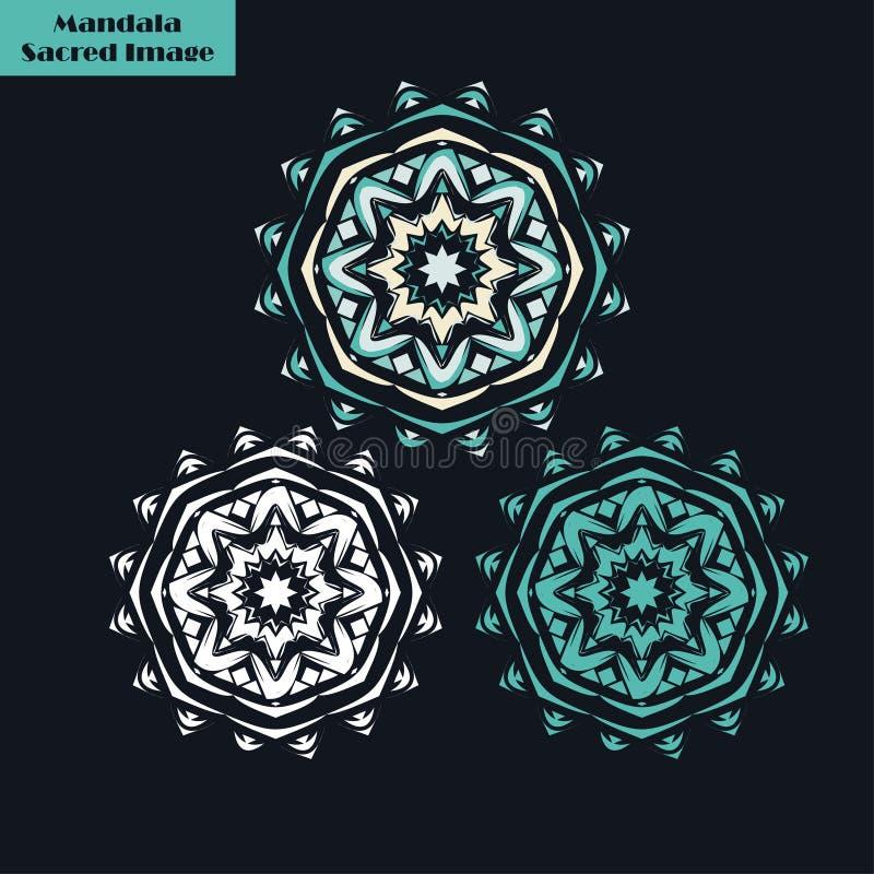 mandala sakral bild dekorativ elementtappning Orientalisk modell, vektorillustration vektor illustrationer