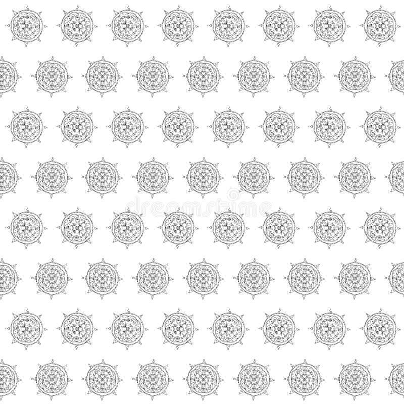 Mandala sans couture de mod?le Croquis de dessin de main Contour noir sur le fond blanc Illustration de vecteur illustration stock