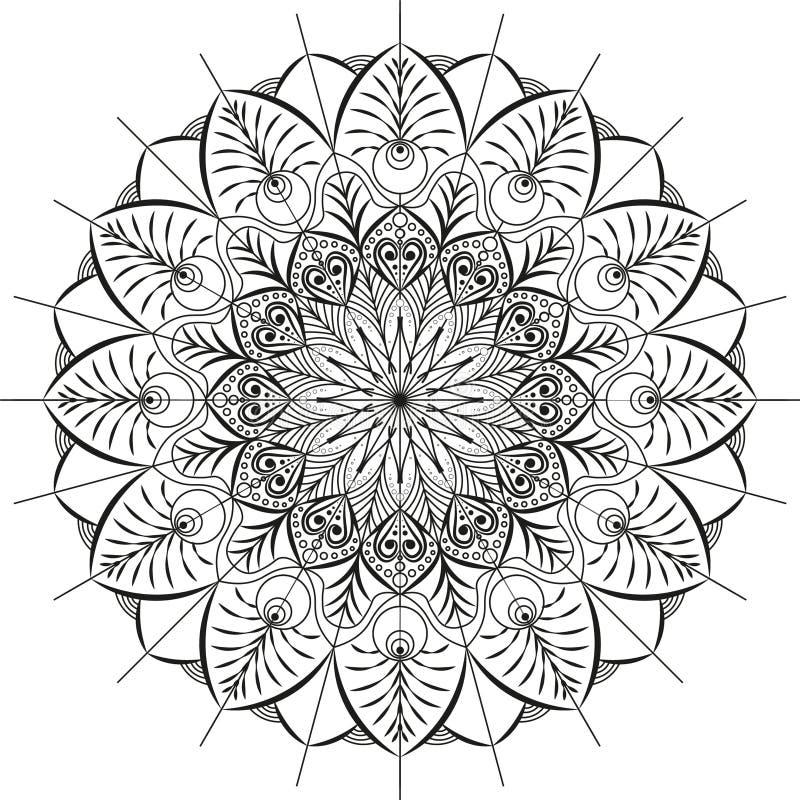 Mandala schilderde met de hand op een witte achtergrond stock fotografie