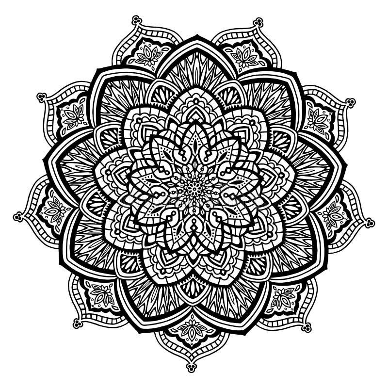 Mandala in Schwarzweiss lizenzfreie stockbilder