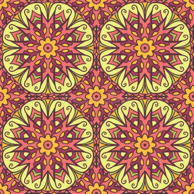 Mandala seamless pattern. Seamless pattern with colored mandala motifs. Abstract floral seamless pattern vector illustration