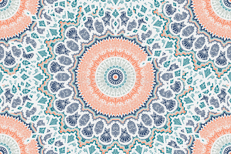 Mandala Seamless Pattern. Hand drawn Gold Mandala Seamless Pattern. Arabic, indian, turkish and ottoman culture decoration style. Ethnic ornamental background vector illustration