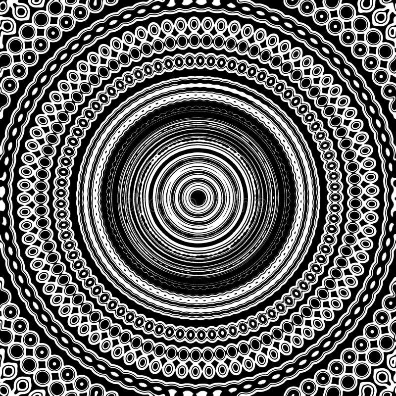 Mandala Seamless Pattern Tile Black blanco y negro y blanco stock de ilustración