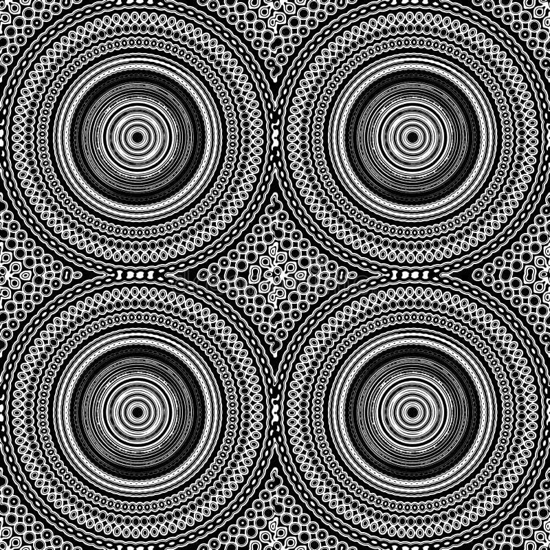 Mandala Seamless Pattern Tile Black blanco y negro y blanco ilustración del vector
