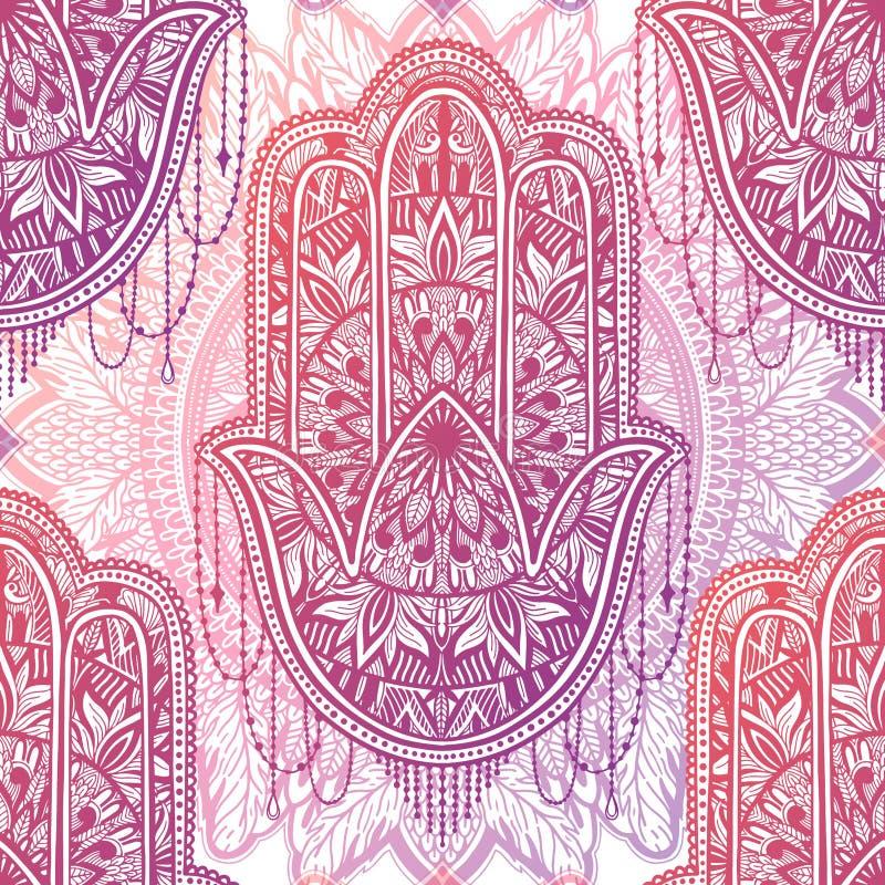 Mandala sem emenda do hamsa do teste padrão da arte C?pia abstrata ?tnica Textura de repeti??o colorida do fundo Ornamento bo?mio ilustração stock