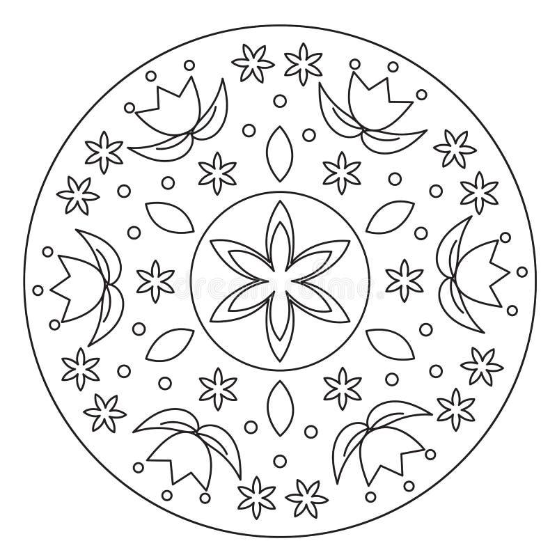 Mandala semplice di coloritura del fiore illustrazione vettoriale