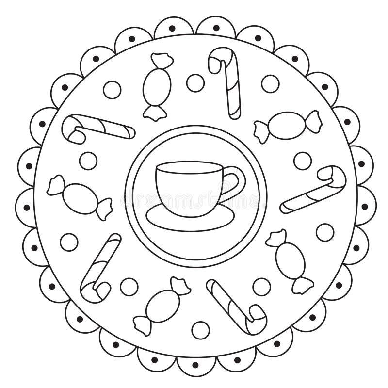 Mandala semplice di coloritura delle caramelle illustrazione vettoriale