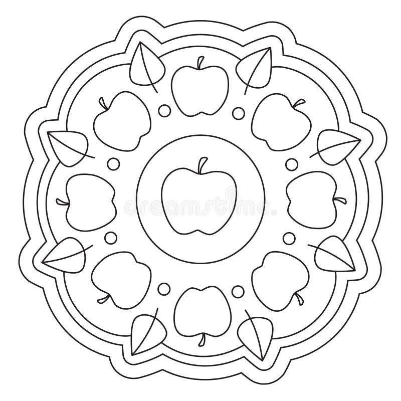 Mandala semplice di coloritura di Apple illustrazione vettoriale
