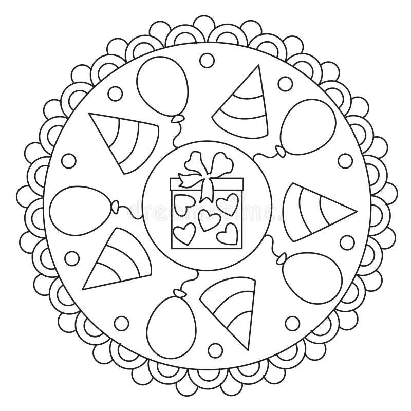 Mandala semplice di coloritura di celebrazione royalty illustrazione gratis