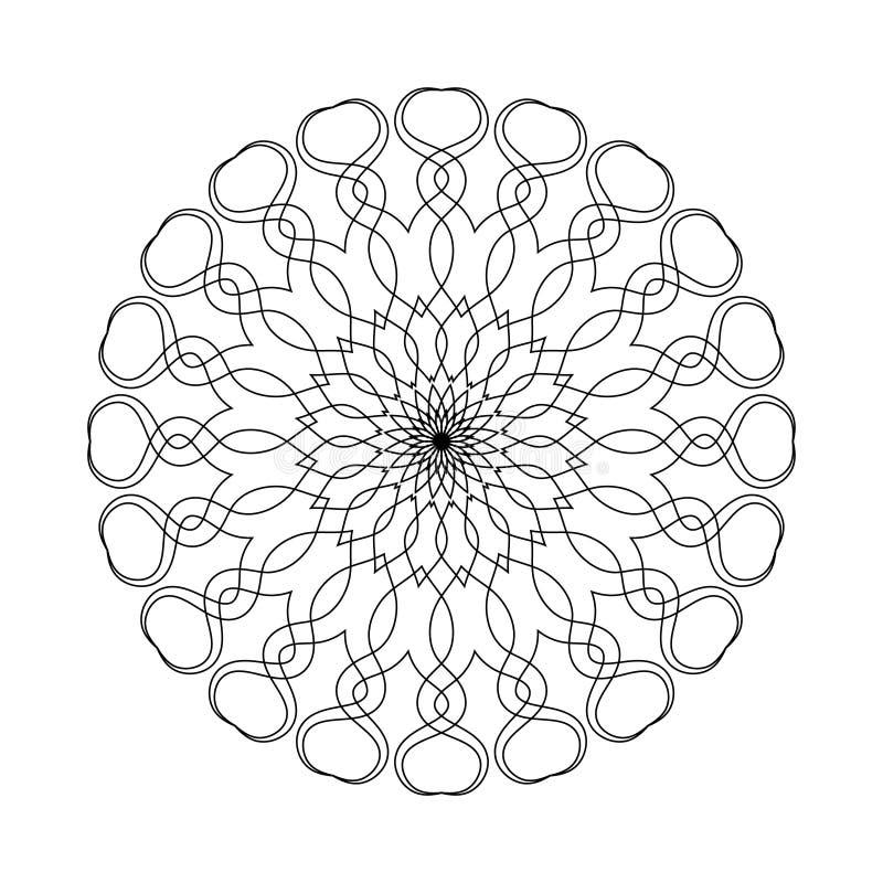 Mandala semplice di forma per la coloritura su un fondo bianco illustrazione vettoriale