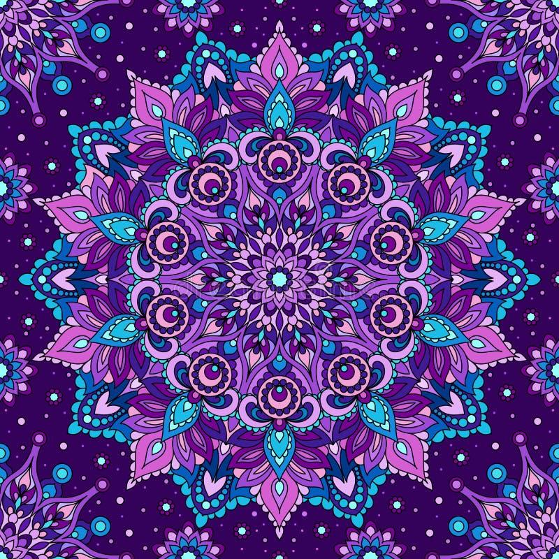 Mandala senza cuciture di porpora del modello Elemento orientale decorativo illustrazione vettoriale