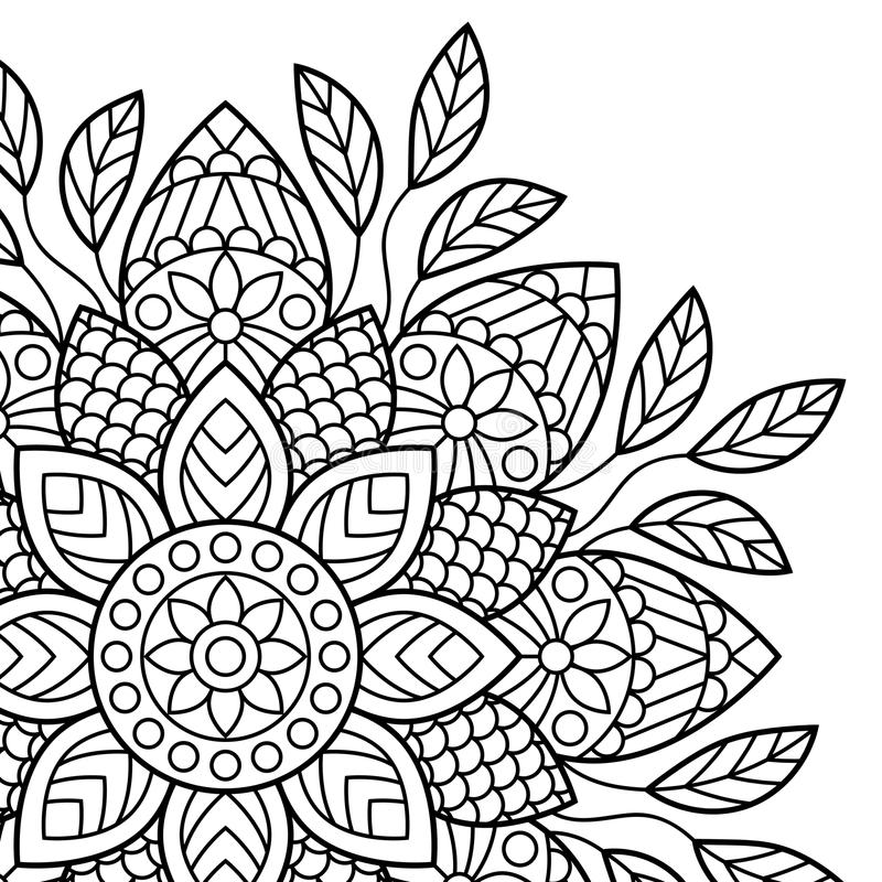 mandala Sidor för färgläggningbok royaltyfri illustrationer