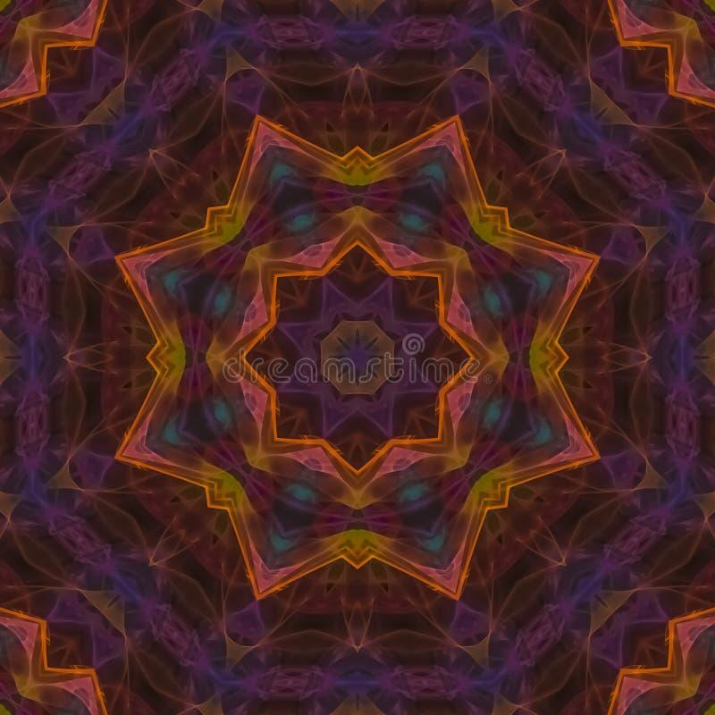 Mandala simétrica decorativa del mosaico del hermoso diseño de la fantasía del caleidoscopio digital abstracto stock de ilustración