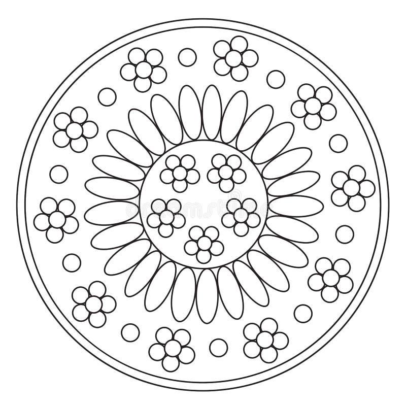 Mandala simple de coloration de camomille illustration libre de droits