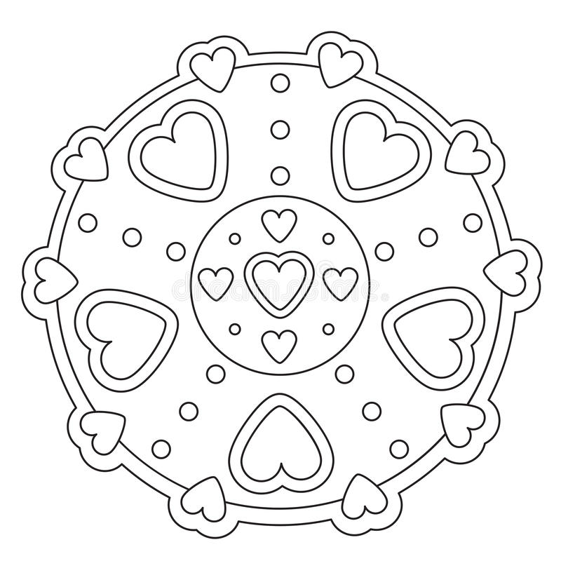 Mandala simple de coloration de coeur illustration stock
