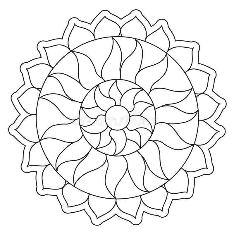 Mandala simple de coloration de Sun illustration de vecteur