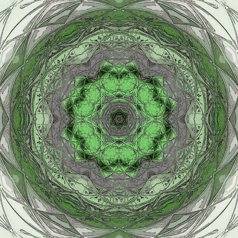 Mandala som är passande för meditational i ljus - gräsplan-, vit- och krickafärger vektor illustrationer