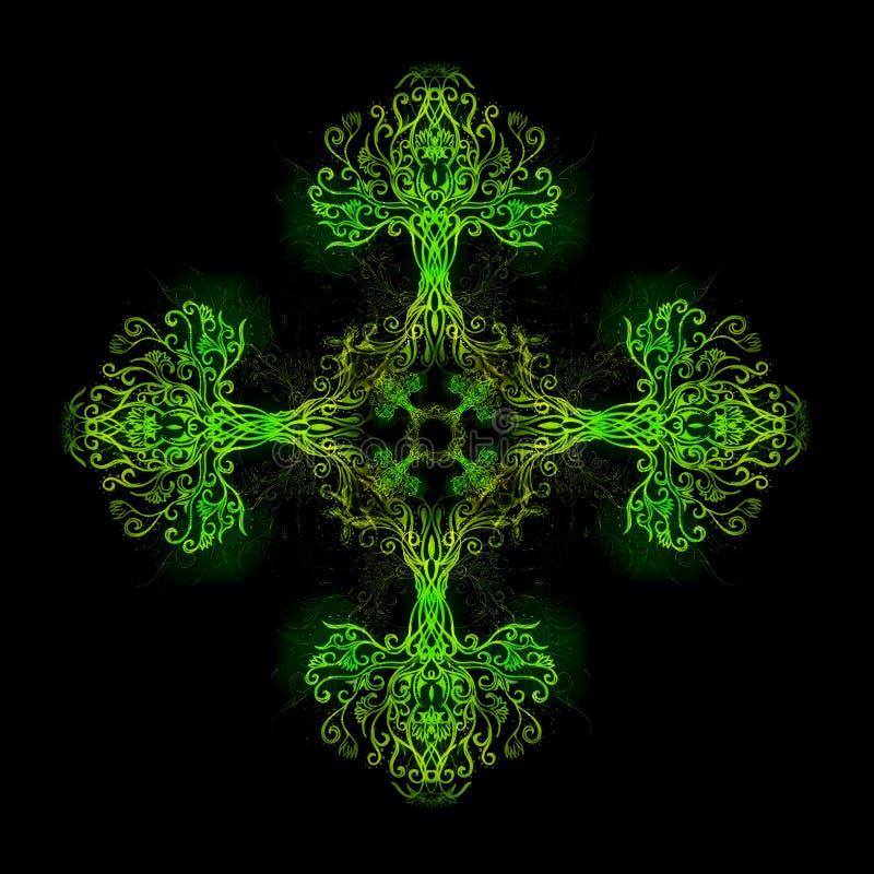 Mandala som göras av sakralt dekorativt träd av livsymbolet royaltyfri illustrationer