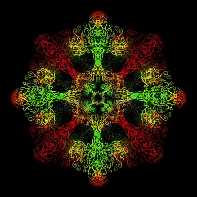 Mandala som göras av sakralt dekorativt träd av livsymbolet stock illustrationer