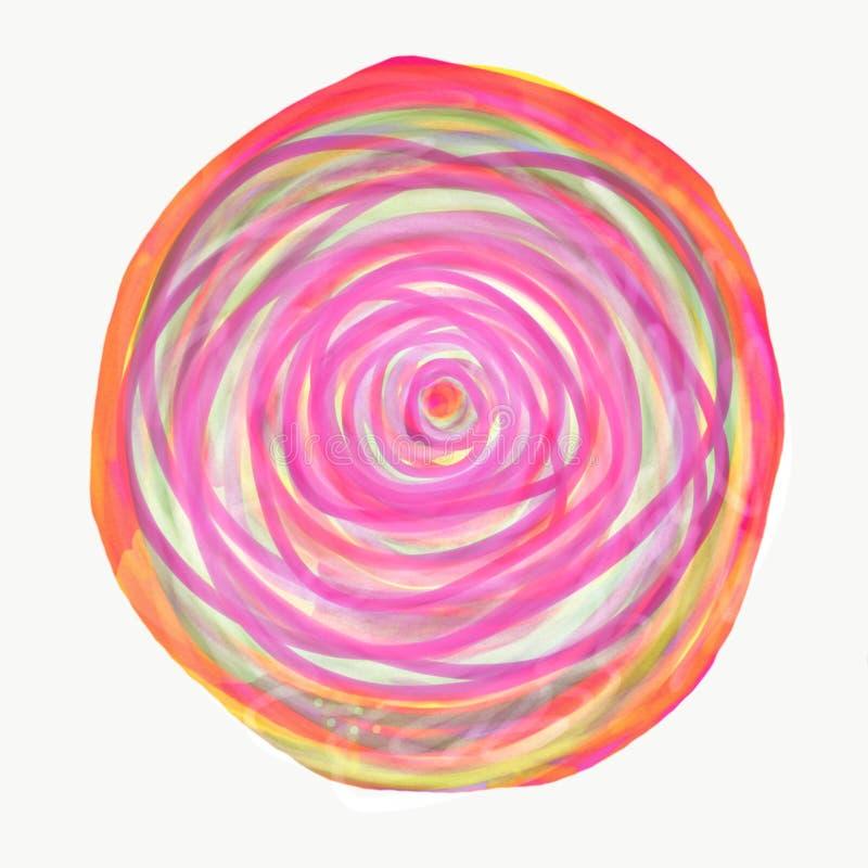 Mandala som målas med vattenfärgen stock illustrationer
