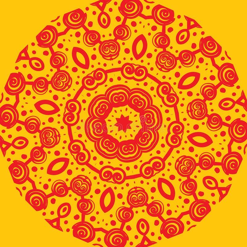 Mandala-som modell på guling vektor illustrationer