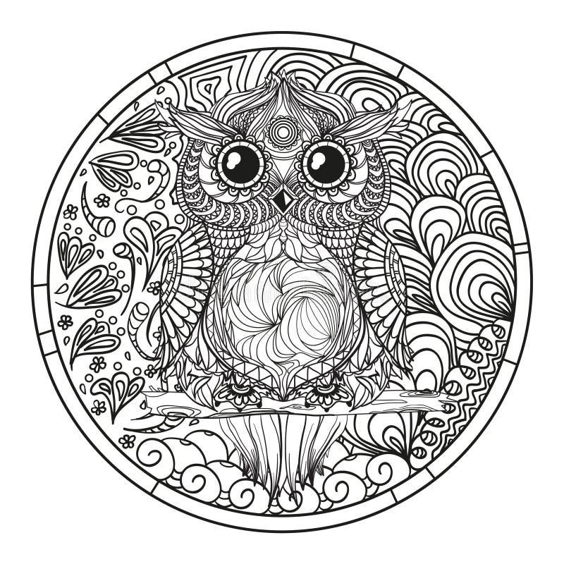 mandala sowa Zentangle royalty ilustracja