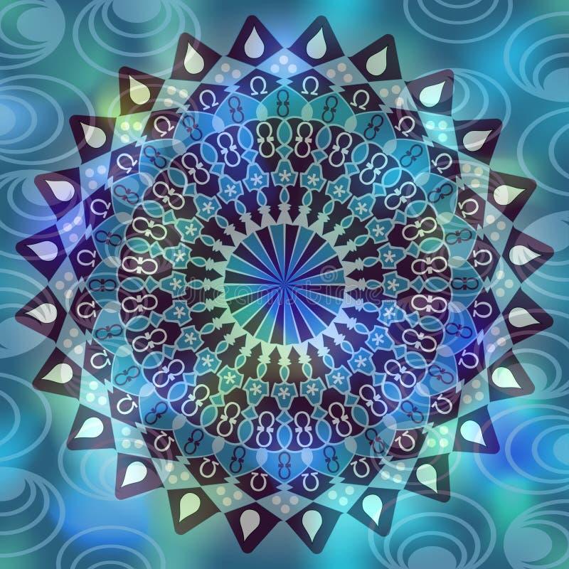 Mandala symétrique géométrique, dessin noir sur le fond abstrait bleu et vert, image calmante dans des couleurs fraîches illustration de vecteur