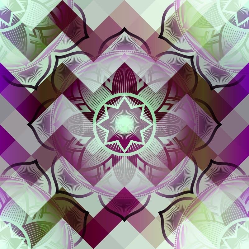 Mandala symbol seamless pattern. On pixels background vector illustration