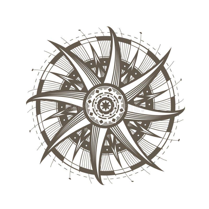 Mandala, symbole du soleil Ornement rond décoratif Illustration de vecteur de vintage illustration de vecteur
