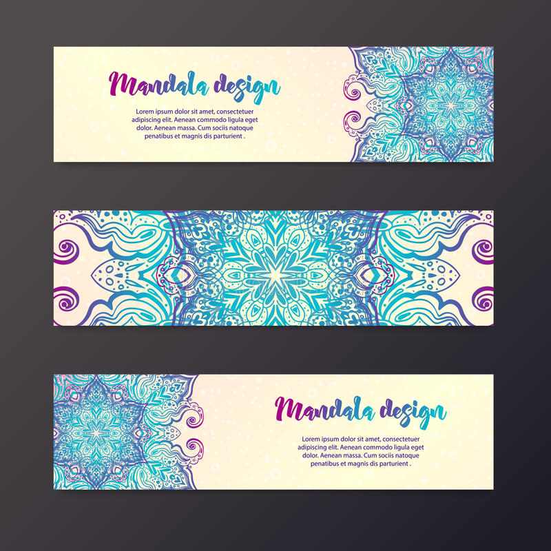 Mandala sztandar, indianina styl royalty ilustracja