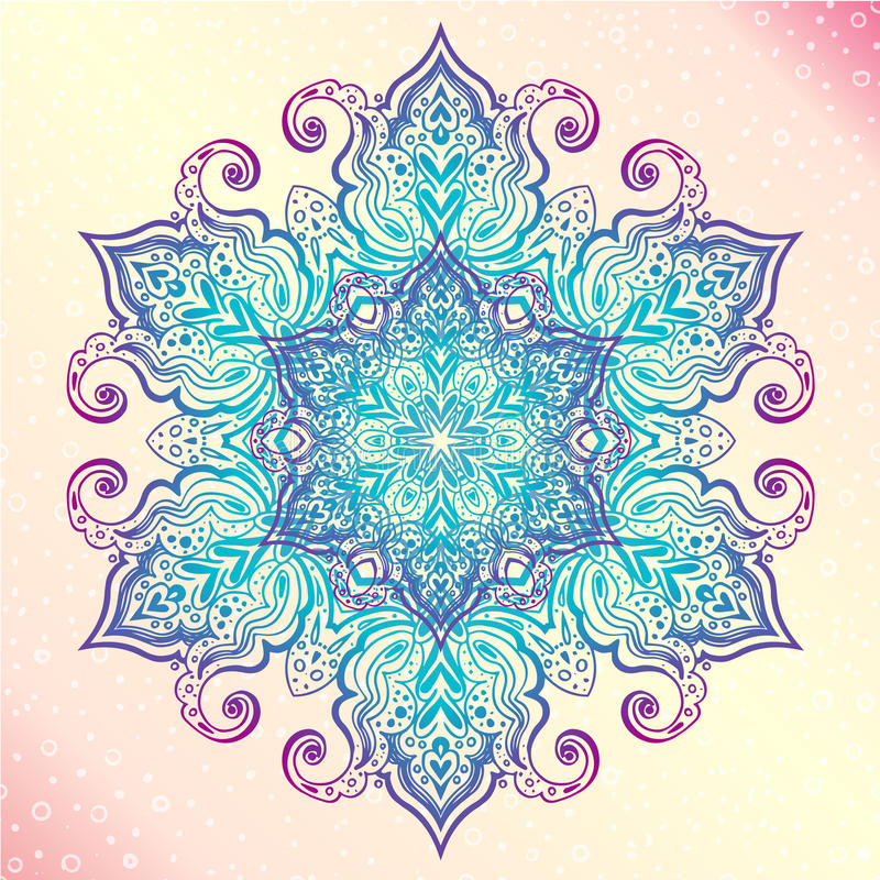 mandala Tatoo rond d'amulette de vintage floral illustration libre de droits