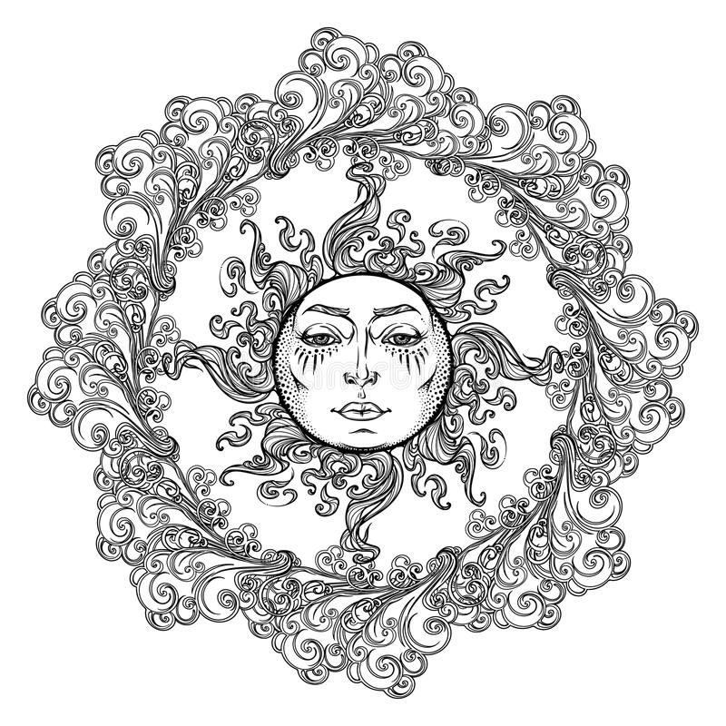 Mandala Tattoo. Fairytale Style Sun With A Human Face Surrounded By ...