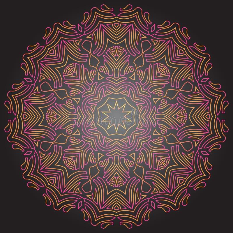 Mandala teinté sur le fond gris-foncé DES traditionnel d'ornement illustration libre de droits