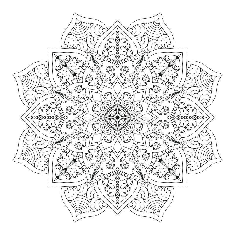 mandala Teste padrão redondo do ornamento do vintage Islâmico, árabe, indiano ilustração royalty free