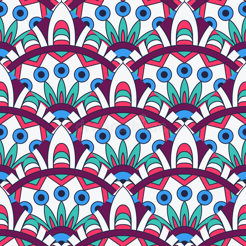 Mandala texture in bright colors. Abstract vector background. Seamless pattern on indian style. vector illustration