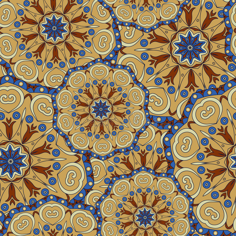 Mandala texture in bright colors. Seamless pattern on indian style. Abstract vector background stock illustration