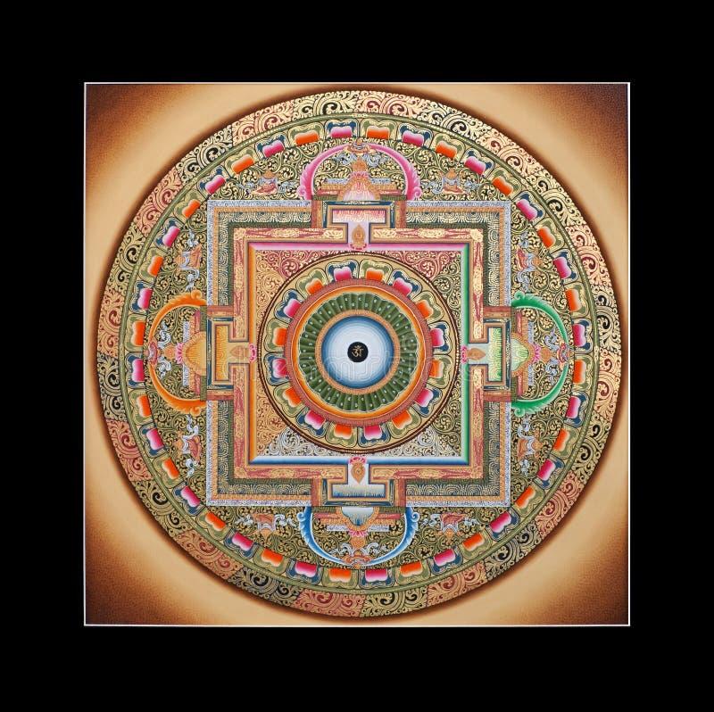 Mandala tibetana antigua del ohmio del tangka fotografía de archivo libre de regalías