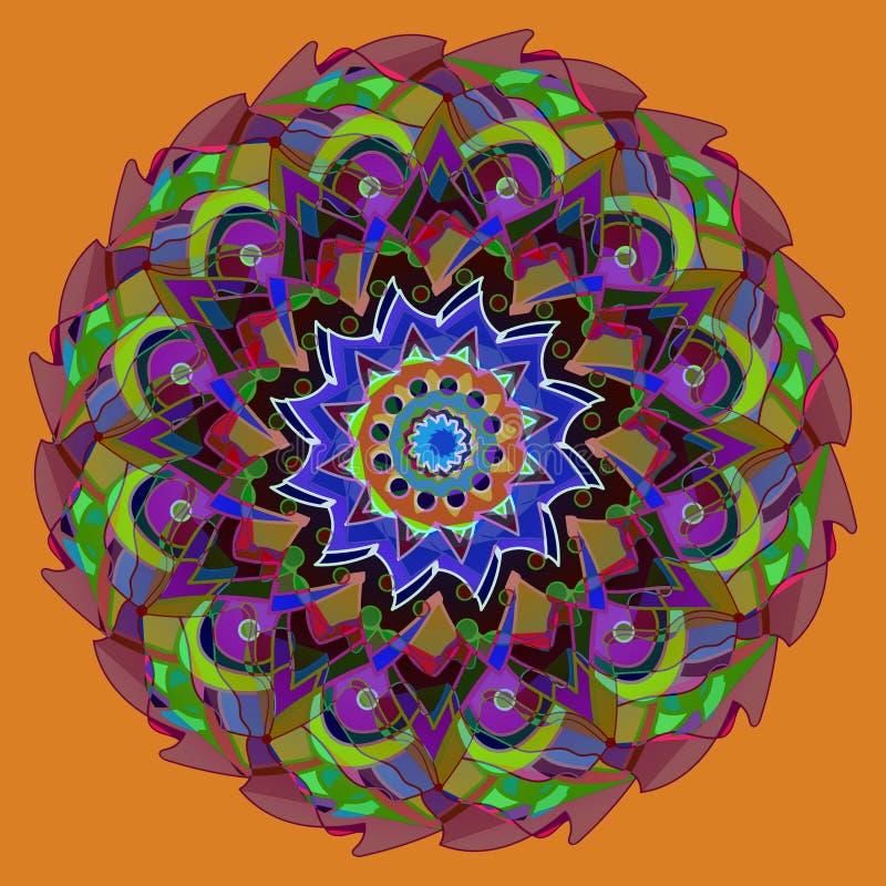 MANDALA FLOWER. COLORFUL IMAGE. PLAIN  ORANGE BACKGROUND. CENTRAL FLOWER IN VIOLET, PURPLE, GREEN, BLUE, BURGUNDY royalty free stock photos