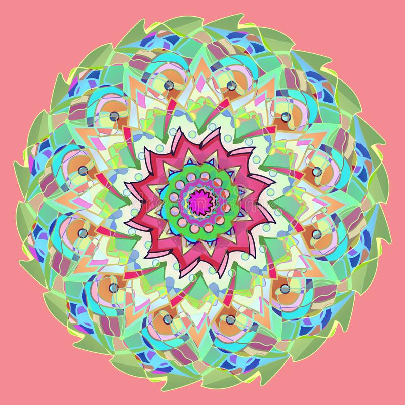 MANDALA FLOWER. PLAIN PINK BACKGROUND. CENTRAL FLOWER IN GREEN, YELLOW, ORANGE, RED, PINK, PURPLE VINTAGE STYLE stock photo