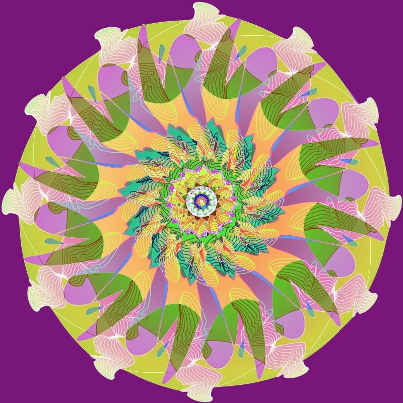 MANDALA FLOWER. PLAIN PURPLE BACKGROUND. ART DECO STYLE. CENTRAL LINEAR DESIGN IN PURPLE, GREEN, ORANGE AND YELLOW stock photo