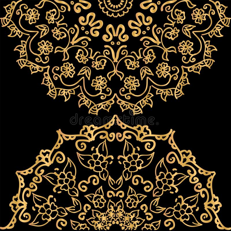 Mandala tile with floral motif. Gold gradient with metallic luster vector illustration