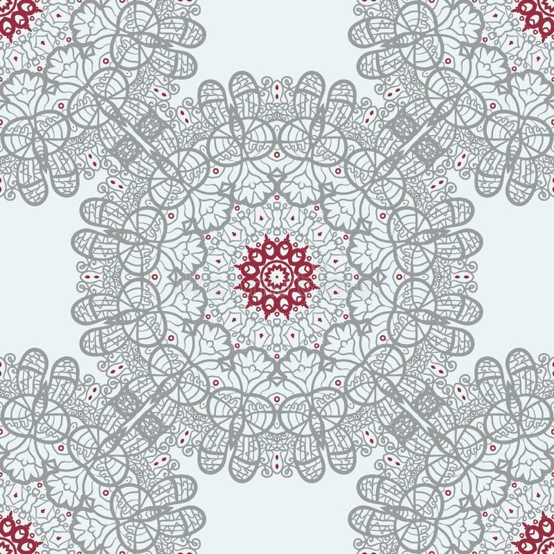 Mandala Tile Seamless Print. Symmetry Pattern vector illustration