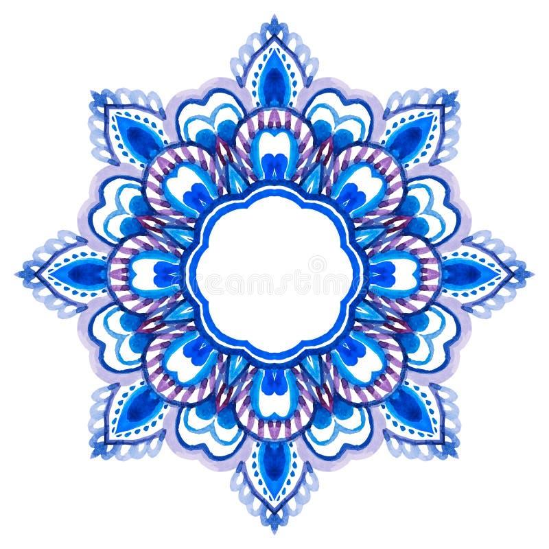 Mandala tiré par la main d'aquarelle illustration stock