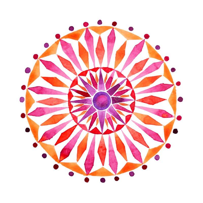 Mandala tiré par la main dans la technique d'aquarelles photo stock