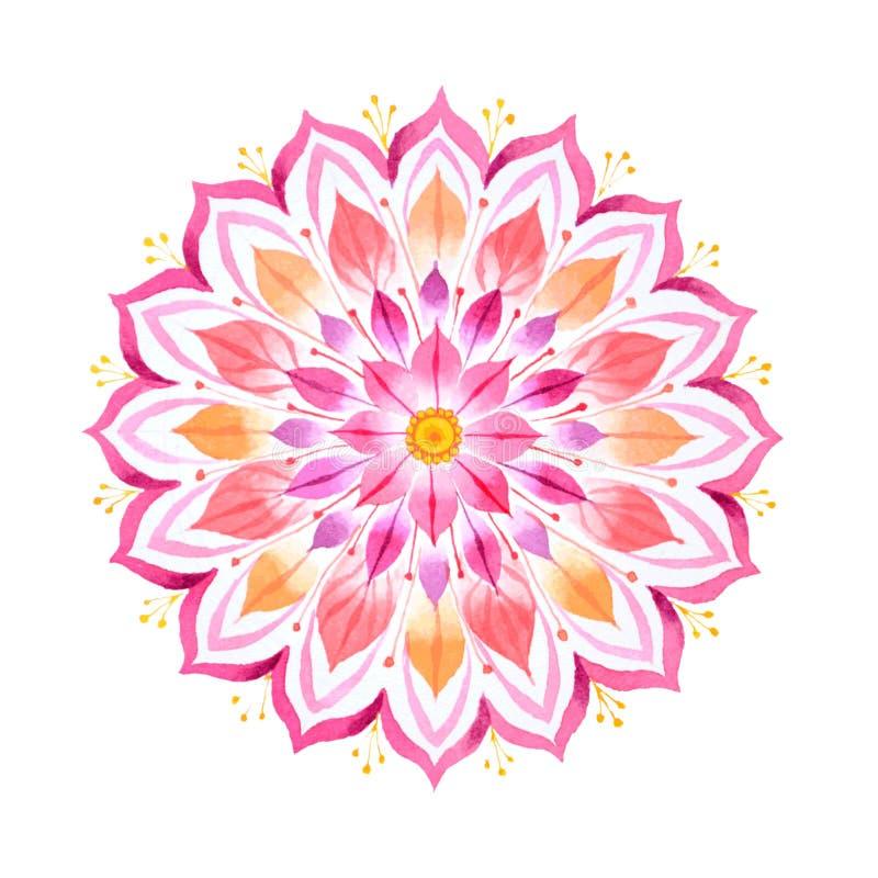 Mandala tiré par la main de fleur rose image stock