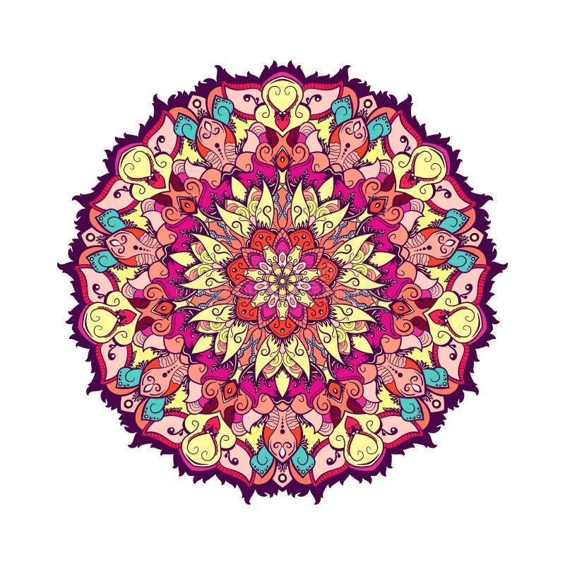 Mandala tiré par la main de Paisley d'Indien Illustration de vecteur illustration stock